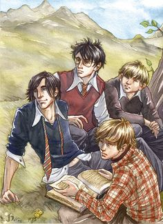 """""""Snivellus Sighting!!""""    Sirius Black, James Potter, Peter Pettigrew (top) and Remus Lupin (bottom) spend a nice early summer's day at the lake in their fifth year"""