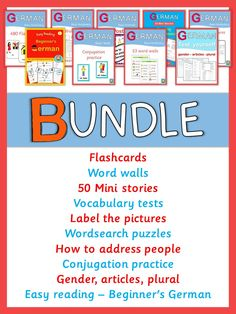 This bundle contains all German products in my store: flashcards, word walls, label the pictures, vocabulary tests, wordsearch puzzles, easy reading for beginners, conjugation practice, how to address people, 50 mini stories, test yourself - gender, articles, plural.