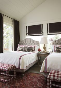 Bedroom Twin Bedroom with white panel ceiling. Mountain Home Guest Bedroom. Twin Bedroom with white panel ceiling Massucco Warner Miller Interior Design Country Girl Rooms, Colchas Country, Country Charm, Country Living, Cozy Bedroom, Girls Bedroom, Bedroom Decor, Bedroom Lighting, Guest Bedrooms