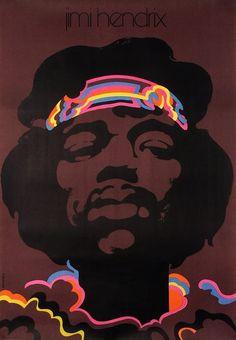 Jimi Hendrix  Original Polish music poster  designer: Waldemar Swierzy  year: 1973  size: B1