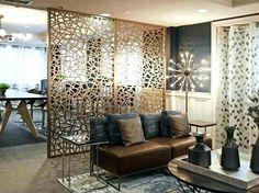 Decorative screen room divider, double layer BRONZE/GOLD aluminum composite panels, floor to ceiling partition. Separating Rooms, House Design, Interior Design Inspiration, Room Partition, Walls Room, Room Decor, Wooden Room Dividers, Living Room Accessories, Modern Room Divider