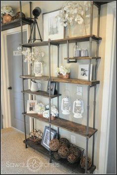 DIY Industrial Shelving ! PVC! pvc looks brilliant, not metal strong, but OK for tchotchkes. Looks brillant!