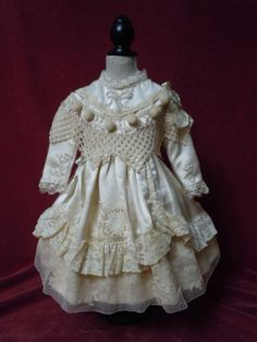 "Exquisite pure silk Dress for 25"" antique french bisque doll from believe on Ruby Lane"