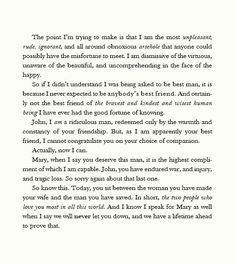 Sherlock's heartwarming speech, The Sign   of Three. Is it possible to read this and not cry?