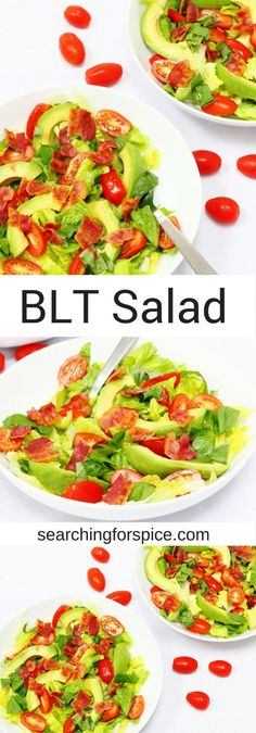 With this BLT salad you can enjoy the classic ingredients of a BLT sandwich but in a salad. So healthy and easy to make with bacon, lettuce, tomatoes and avocado it makes a healthy main meal, appetiser or side dish.