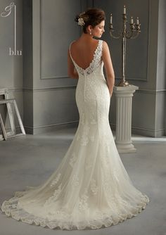 Bridal Dress From Blu By Mori Lee Dress Style 5262 Patterned Embroidery Design on Net over Satin Slip Dress $1,125.00