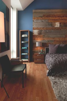 Philadelphia Penthouse Apartment. Really love the colors in this. The dark blue with the different woods and the textured grey.
