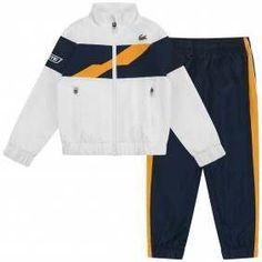 45ae4bc9b8eb7 Lacoste Sport Boys White   Navy Stripe Tracksuit Lacoste Sport