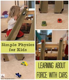 Science: Learning About Force with Cars & Ramps Science for Kids: Preschool Physics Experiment with Cars and Ramps! A fun learning activity for kids!Science for Kids: Preschool Physics Experiment with Cars and Ramps! A fun learning activity for kids! Cars Preschool, Preschool Science Activities, Kindergarten Science, Physical Science, Science Fair, Science For Kids, Science And Technology, Preschool Learning, Science Classroom