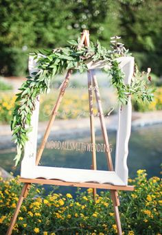 Framed Glass for Notes / #Signs / #Instagram / See the wedding on SMP:  http://www.StyleMePretty.com/2014/01/20/oak-hill-the-martha-berry-museum-wedding/ Paperlily Photography