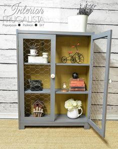 Vintage Bookcase To Farmhouse Cupboard with Chicken Wire Doors   The Interior Frugalista