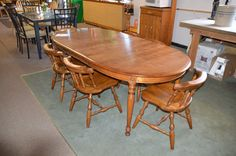 """Cal Shops""  Solid Maple Table 2 leaves & 6 chairs"
