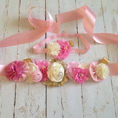 Sash and headband SET-pink and gold headband-maternity sash-birthday sash-photography sash on Etsy, $44.00