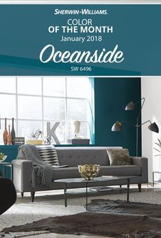 New year, new Color of the Month! And while Father Winter may be sporting those snowy whites and cloudy grays, there's no reason for you to follow suit. Give your living room (or an accent wall, ceiling or piece of furniture) a powerful punch of color with our January Color of the Month, Oceanside SW 6496. Bold, mesmerizing, irresistible—your world will never feel dull and drab ever again.