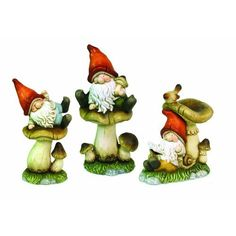 Amazon.com: Melrose Whimsical Gnomes on Mushrooms, 16-Inch, Set of 3: Home & Kitchen