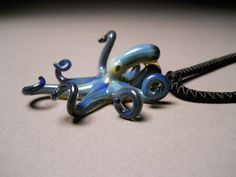Octopus  Necklace with curled Tentacles Black Pearl by Glassnfire, $52.00