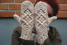 These gorgeous Chevalier knitted cabled mittens have a beautiful, intricate cable pattern that really makes them stand out.