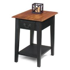Cherry and Black Solid Wood End Side Table with Drawer Storage Rectangular Design Side Table With Drawer, Chair Side Table, Wood End Tables, End Tables With Storage, Side Tables, Living Room Furniture, Home Furniture, Furniture Ideas, Table Furniture