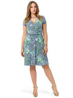 Lands' End Plus Size Dress In Purple Floral Faux Wrap V-Neck Size 16/18W #LandsEnd #ShirredSupliceBodice #Any