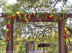 Ceremony Arbor wedding flowers @ Fountaingrove Wedding. Flowers and photo by The Wild Orchid floral design in Sebastopol.