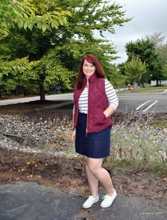 Simple, affordable outfits created around two colors: berry and navy! Great work outfits and casual outfits. Target striped tshirt, JCrew Factory quilted puffer vest, JCrew Factory navy mini skirt, white sperrys. Click on link to see outfits for the entire week using two colors!