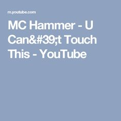 MC Hammer - U Can't Touch This - YouTube