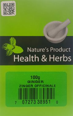 Natures Product Health & Herbs Ginger 100g Zinger Officinale.