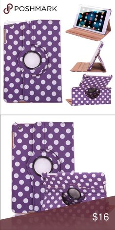 Polka-dot leather 360 rotate smart stand case Polka-dot leather 360 rotate smart stand case Listing is colorful Polka-dot 360 rotating smart leather protective case for iPad mini 1/2/3/4 with sleep/wake features.  Brand new case with perfect shock defender front and back cover Color: Purple Order and will ship within 24 hours  Thanks for looking. Accessories