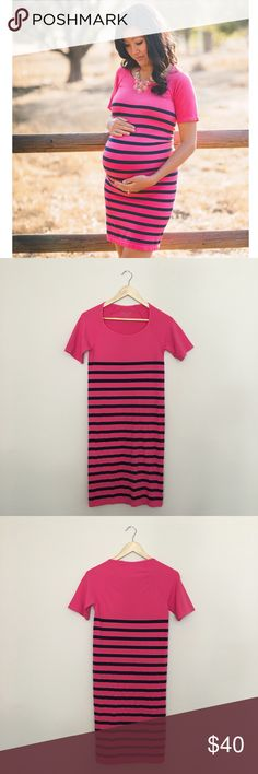 """Nautical Short Sleeve Maternity Dress This Nordstrom brand, Tees by Tina is designed with seamless, super-stretch threads that snap back into shape after every wear through pregnancy and beyond, this layer-ready tank dress in vibrant sailor stripes makes the perfect season-spanning piece. The perfect dress for a baby shower, gender reveal or maternity photo shoot. Price is firm. trades &/or PP. Length: 36"""" Condition: Like new Material: 92% Nylon, 8% Spandex Care: Machine wash cold, line dry…"""