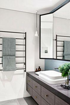 Chambers St Residence, a beautiful contemporary bathroom by Mim Design featuring Omvivo's Latis rectangular basin. Bathroom Towel Rails, Laundry In Bathroom, Bathroom Mirrors, Vanity Mirrors, Wall Mirrors, Bathroom Furniture, Bathroom Cabinetry, Round Mirrors, Bathroom Fixtures