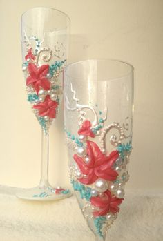 Wedding champagne flutes, hand decorated with coral lilies in ivory and water blue - set of 2 by PureBeautyArt