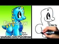 Easy Drawings - How to Draw a Cartoon Dinosaur