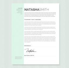pastel resume cover letter template clean door jannalynncreative