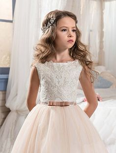 Amazon.com: KissAngel Ivory Long Lace Flower Girl Dresses Champagne Less Party Dress (12, White &Champagne): Clothing