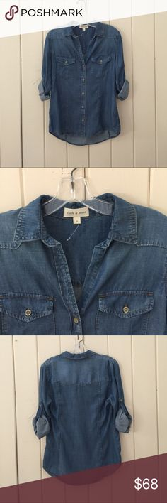 Cloth & Stone top from anthropologie-NWOT- small Cloth & Stone denim shirt- NWOT- size small. Long sleeve button down with tabs to roll up sleeves. . 100% tencel - such soft fabric! Brand new, never worn. Anthropologie Tops Button Down Shirts