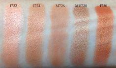 MUFE eyeshadows I722, I714, M726, ME728, I730