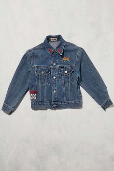 Slide View: 1: Urban Renewal Vintage One-of-a-Kind Guess Jeans Patched Dragon Jean Jacket