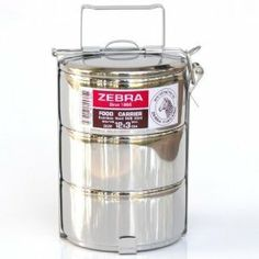 Zebra 3 -Tier Stainless Steel Food Carrier 12 Cm. by Thai food carrier. $45.93. The Zebra stainless steel 3-tier tiffin is reusable, lightweight, and good for your health and the health of the planet. Perfect for work, school, picnics, concerts, travel and camping. It even makes a stylish doggy bag for your leftovers. Simple yet sturdy latching system allows you to carry just one container or both. Fold down the handle to make it compact and easy to store and stac...