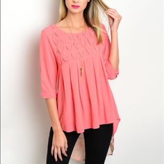 Gorgeous coral hi lo lace detail blouse! Pretty gathers at bust- lace up back with hi lo lace detail Tops Blouses