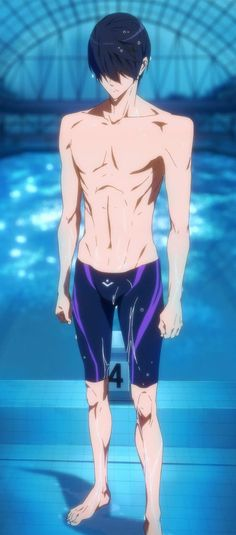 i always thought their shoulders were too unnatural.wait what happened here. Haruka Nanase, Makoharu, Swimming Anime, Free Eternal Summer, Free Iwatobi Swim Club, Kyoto Animation, Blue Swimsuit, Free Anime, Hot Anime Guys