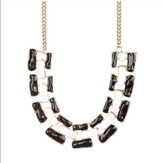 """B&W Enamel Link Necklace 18k gold plated base metals  Glass crystals  Nickel and Lead free  Length: extends to 22"""" T&J Designs Jewelry Necklaces"""