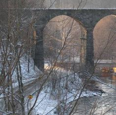 Starrucca Viaduct between Susquehanna and Lanesboro, Pennsylvania ... opened in 1848 ... considered one of the US greatest engineering wonders ... trains STILL regularly travel across this bridge daily!