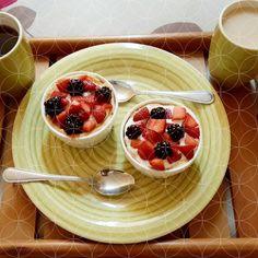 Yogurt and fruit tartlets! Pleasure without the guilt! #dessert #fruit #yogurt #tartlet