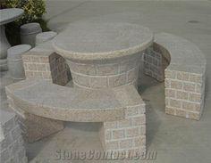 Granite Table Bench for Garden,Granite Furniture, Sunset Gold Yellow Granite Bench Granite Table, Garden Seats, Concrete Bench, Stone Bench, Table Bench, Stone Art, Waterfall, Outdoors, Gardening