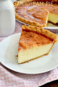 This Sugar Cream Pie tastes like creme brulee in pie form! Buttery creamy sugary custard fills a flaky pie crust that's topped with sweet cinnamon sugar. Amazingly heavenly and so easy!