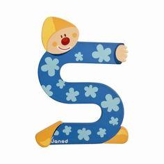 Lettres alphabet Clown en bois<BR>Lettre S<BR>JANOD