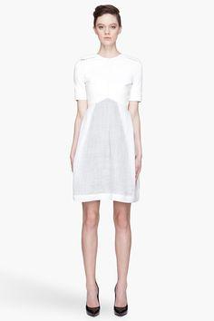 fire: DENIS GAGNON:  white leather & linen short dress