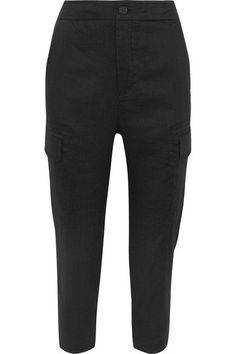 Vince - Cropped Linen-blend Pants - Black - x small