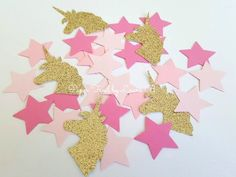 Unicorn Confetti in Pink Ombre and Gold Glitter. Star Confetti. Magical Unicorn Confetti. Unicorn Kisses. Birthday Party Decorations. 80 CT