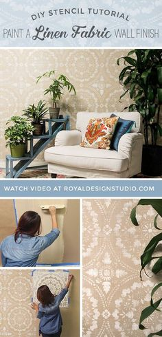 diy stencil tutorial paint a linen fabric wall finish, how to, painting, reupholster, wall decor Stencil Diy, Stencils, Feng Shui, Porches, Distressing Painted Wood, Wall Finishes, Elements Of Design, Textured Walls, Diy Design